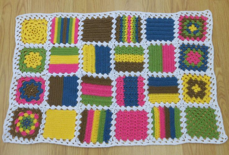 Sample blanket for beginners crochet class. A great way to learn your stitches!