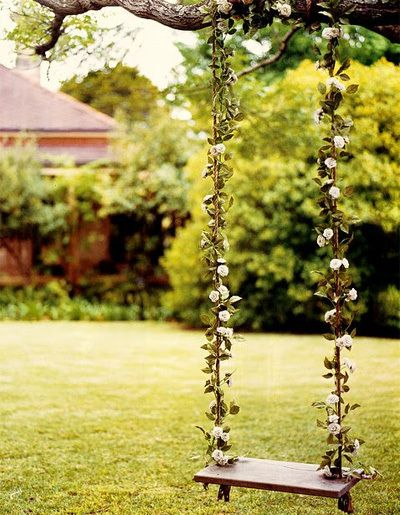 backyard swing with vines covering rope ver fairy tale.
