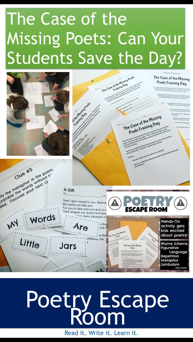 Can your students solve the case of the missing poets? In this Poetry Escape Room, students unlock clues by examining symbolism, metaphors, rhyme scheme, and figurative language in poetry to help return the poets to their original poems. Includes 5 poems by Robert Frost, Claude McKay and more! By Read it. Write it. Learn it.