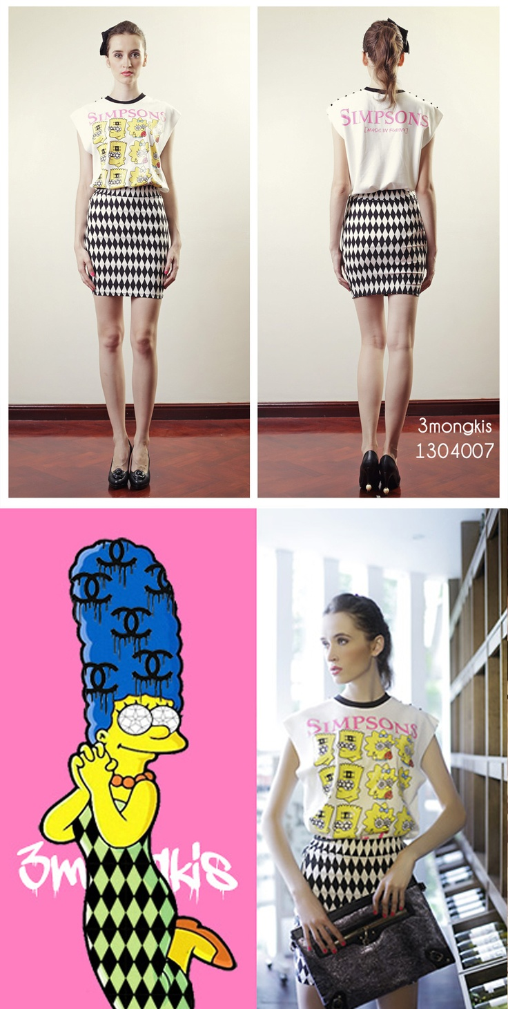 Crazy Simpsons Tshirt and checkered Skirt