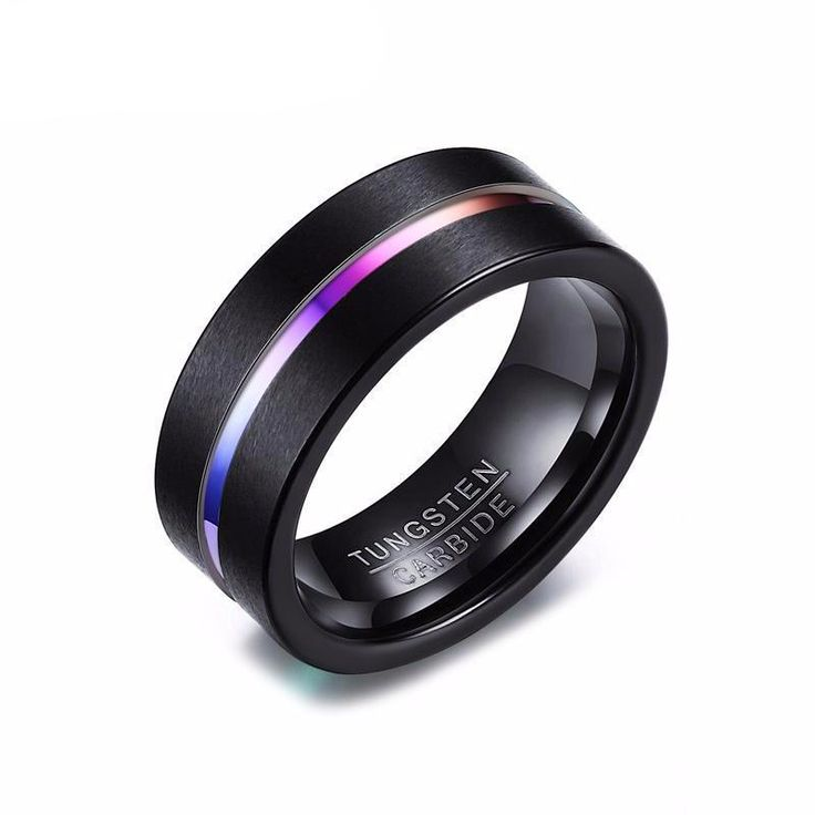 8MM Black Rainbow Tungsten Men's Promise Rings  promise rings for guys, promise rings for men, men's promise rings ideas, promise rings for guys ideas, promise rings for cheap, simple promise rings, rings, rings promise, valentine's day gifts, gifts for men, gift for him, gift for boyfriend, boyfriend gifts, relationship gifts, Christmas gifts for him, Birthday gifts for him
