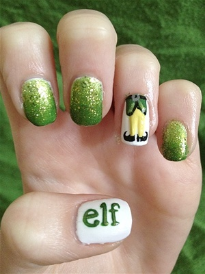 """Awesome!  Elf nails because """"I just love smiling!"""" #Chrismtas #nailart #nailpolish Christmas Sweater nail art {Check out the free Sweater-izer app here: http://funistheanswer.com/sweater-izer/"""