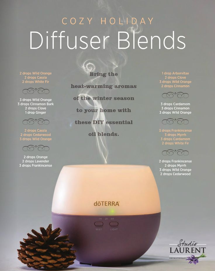 Cozt Holiday Diffuser Blends by studiolaurentaromatherapy: Here are 8 awesome recipes for holiday diffuser essential oil blends that will help you get into the spirit of the Season. #Aromatherapy #Holiday