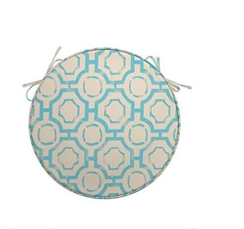 Ship from USA INDOOR OUTDOOR ROUND BISTRO 16 SEAT CUSHION PAD Spa Blue Beige Geometric ITEM NO8YIFW81854184064 *** Check out the image by visiting the link.