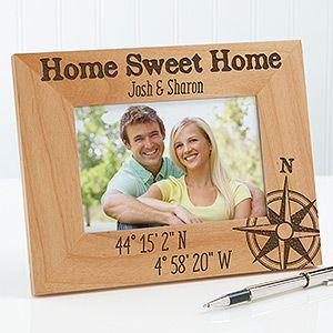 Personalized Romantic Compass Picture Frame - Latitude & Longitude - Romantic Gifts