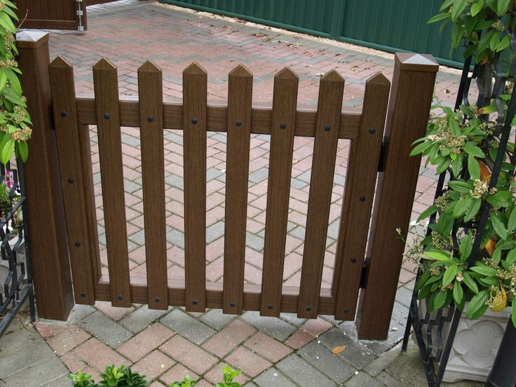 Fensys UPVC plastic rustic oak foiled picket style fence gate complete with self closing hinges and self latching lockable nylon and stainless steel latch
