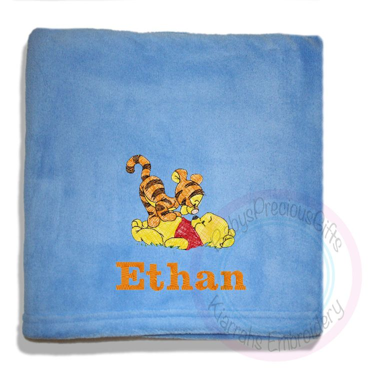 Pooh Bear Blanket, Tigger, Baby Boy Blanket, Baby Girl Blanket, Pink Blanket, Blue Blanket, Pooh and Tigger - pinned by pin4etsy.com