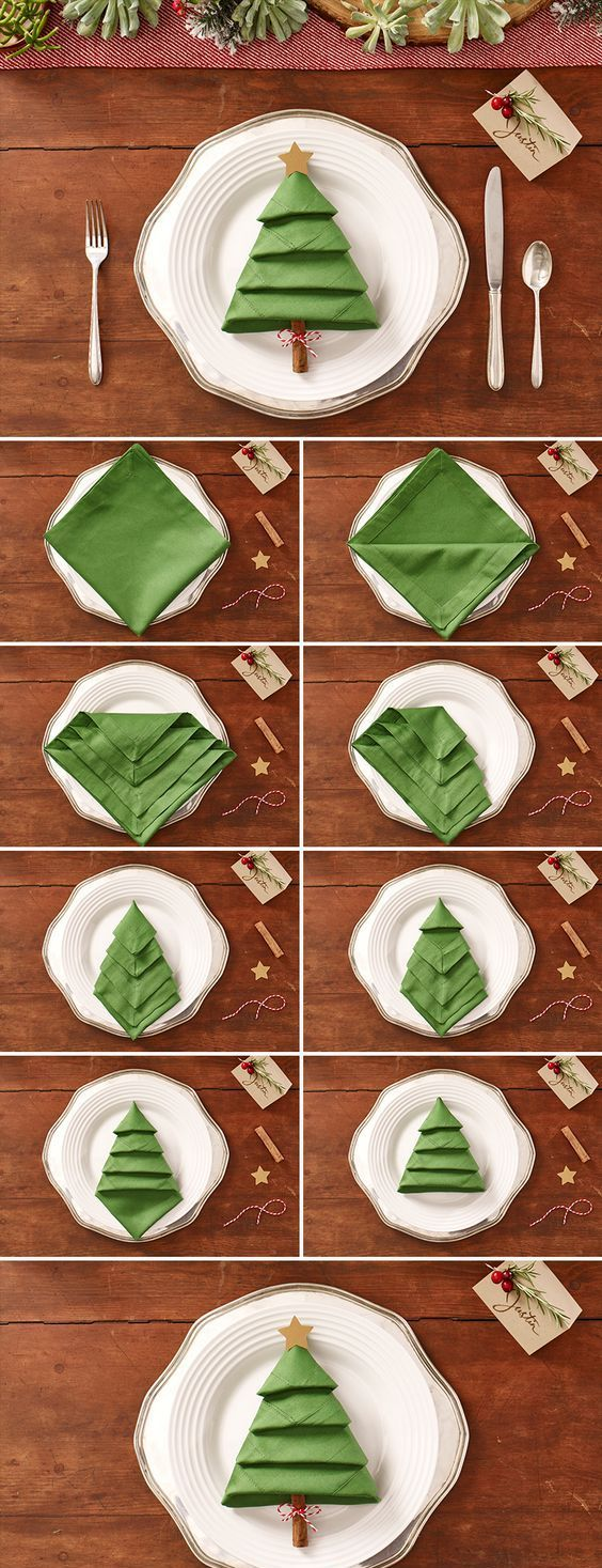 Simple Christmas Tree Napkin Decoration Ideas