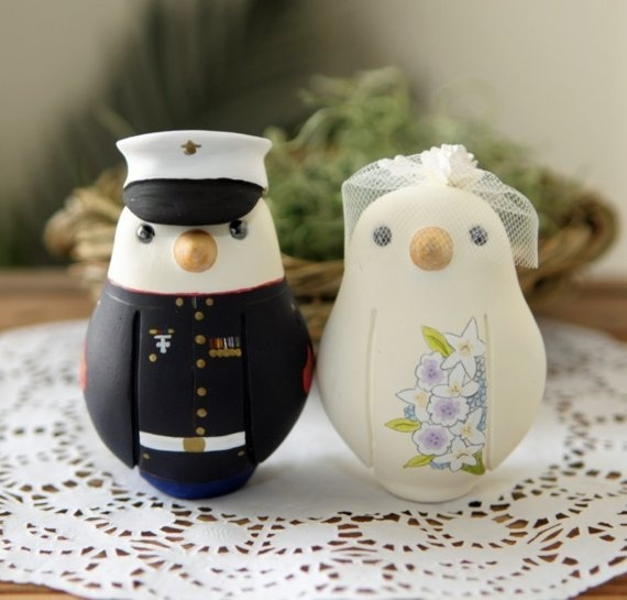 Items Similar To Custom Wedding Cake Topper   Medium Military Love Birds  With Hand Painted Bouquet On Etsy