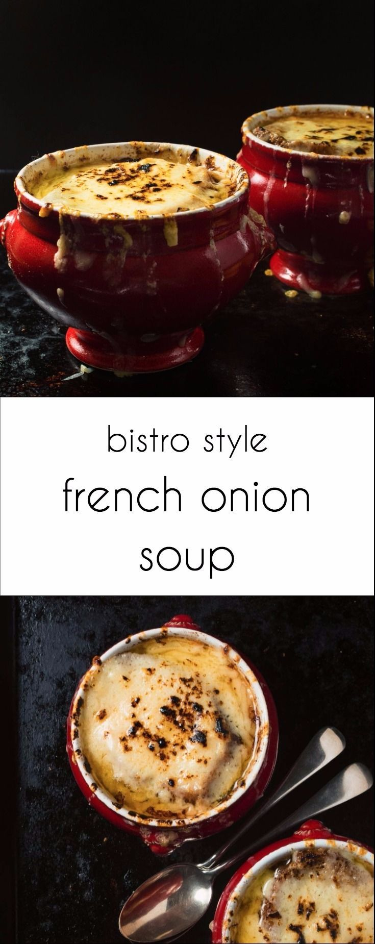 Warm up with this bistro style French onion soup. Comfort in a bowl!