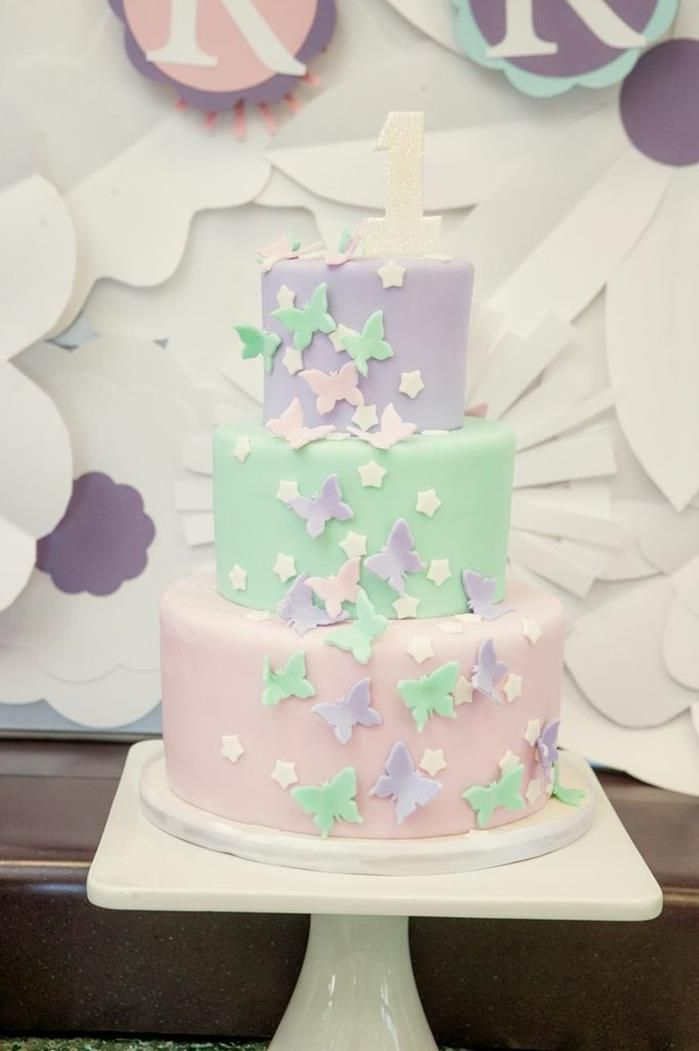 butterfly fairy themed birthday cake at a Fairy 1st Birthday Party ...