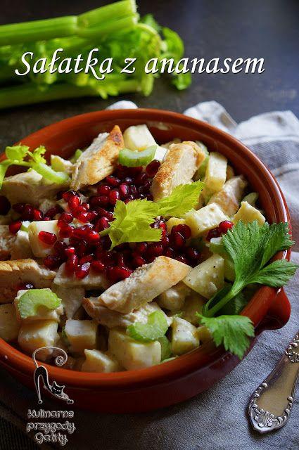 Kulinarne przygody Gatity - przepisy pełne smaku: Sałatka ze świeżym ananasem i kurczakiem