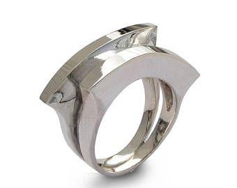 SALE 20% korting - dubbele maan Ring, unieke zilveren ring, brede Zilveren Ring, hedendaagse Italiaanse sieraden, Edgy minimale Ring, Sterling Silver Band