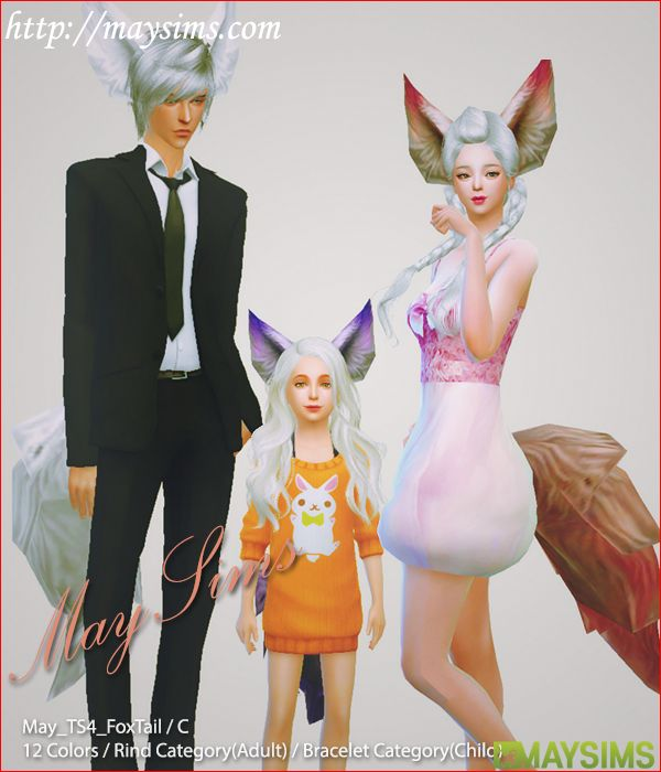 Fox Ears and tails for The Sims 4. Go to the site to download the CC [X] Downloaded