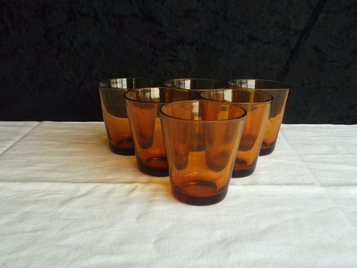 Vereco amber glass water glasses, vintage french home decor by Frenchidyll on Etsy