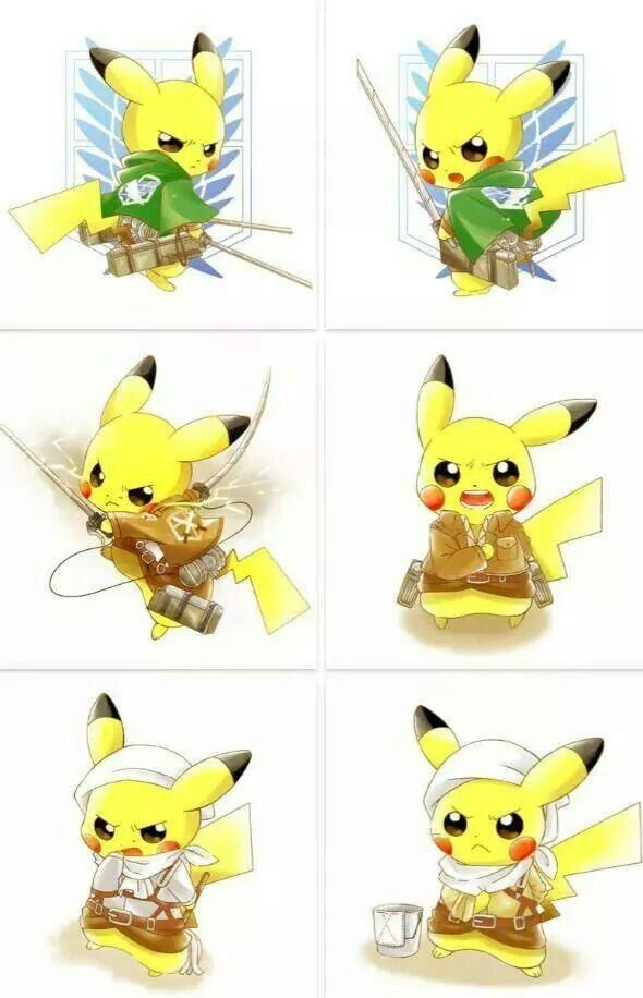 Pikachu and Attack on Titan crossover #anime #manga