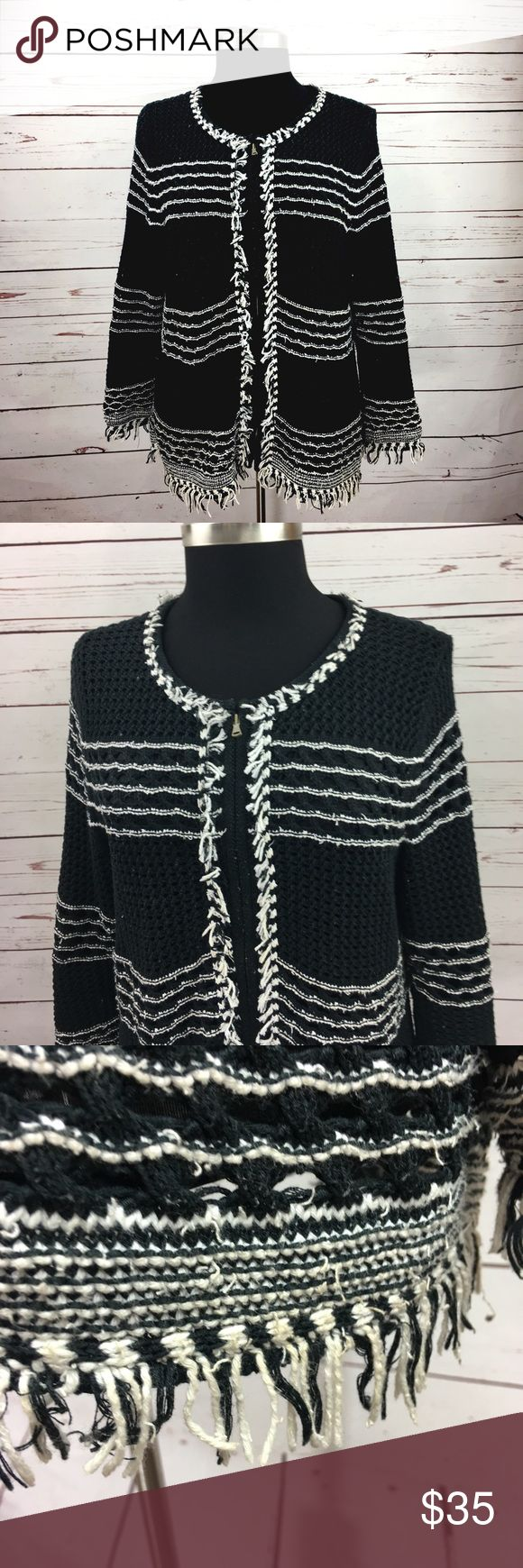 "Ann Taylor Black Crochet Cardigan Sweater Ann Taylor Women Black and white crochet zip up cardigan sweater. Size large. Fringe look at sleeves and hem. Fully lined.   Underarm to Underarm: 21"" Top shoulder to bottom: 26""  7WSW11171385 Ann Taylor Sweaters Cardigans"