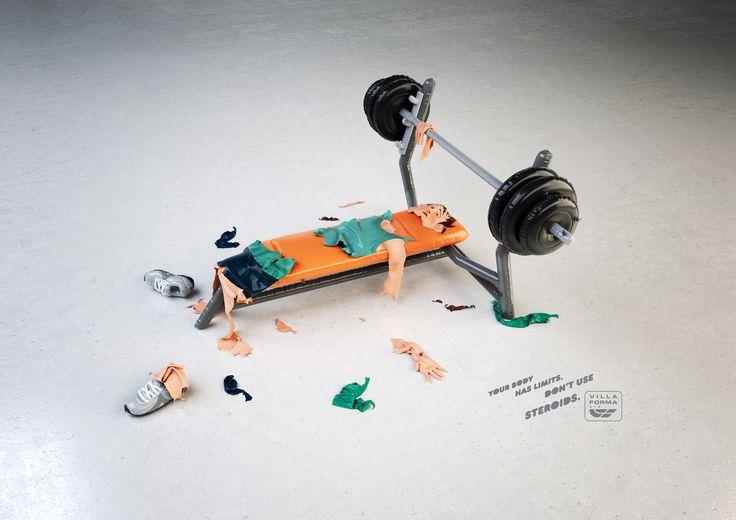 """「ステロイドの使用は、あなたを破裂させてしまうかもしれない。」スポーツジムが制作したコミカルな広告  ブラジルで制作された、とあるフィットネスジムのシリーズプリント広告。  Villa Forma Gymはいつもメディアを問わずユニークな広告を展開しているブランド。彼らが「トレーニングにはステロイドを使わないようにしましょう!」というメッセージを伝えるべく制作したクリエイティブです。   コピーは、""""Your body has limits. Don't use steroids.(あなたの体には限界があります。ステロイドの使用はやめましょう。)""""  ステロイドの使用により膨れ上がった全身の筋肉を「風船」で表現。過剰使用すると体がダメになってしまうことを、「破裂」として描きました。  スクワット篇、ベンチプレス篇、ダンベル篇、どれも「肉体の限界を超えてしまった状態」をかわいいトンマナで見せています。人の「思わず見てしまう」を巧みに作り上げた啓蒙広告"""