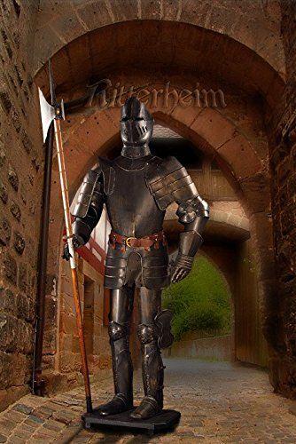 Armatura medievale cavaliere oscuro alabarda 193cm