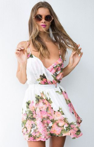 Sweetheart Floral Dress white pink sunglasses beautiful girl fashion clothing outfit style apparel outfit women