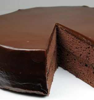 Flourless Chocolate Cake with Chocolate Glaze love how big this is, my flourless tortes are always so short