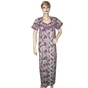 Cotton Caftan Kaftan Pink Blue White Paisley Print Women Evening Dress (Apparel)