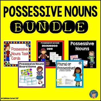 Save BIG with this possessive nouns bundle.  If purchased separately, it would cost $16.  This bundle contains LOTS of practice with possessive nouns, plural nouns, singular/plural possessive nouns.  Great for introducing possessive nouns all the way through to assessment.