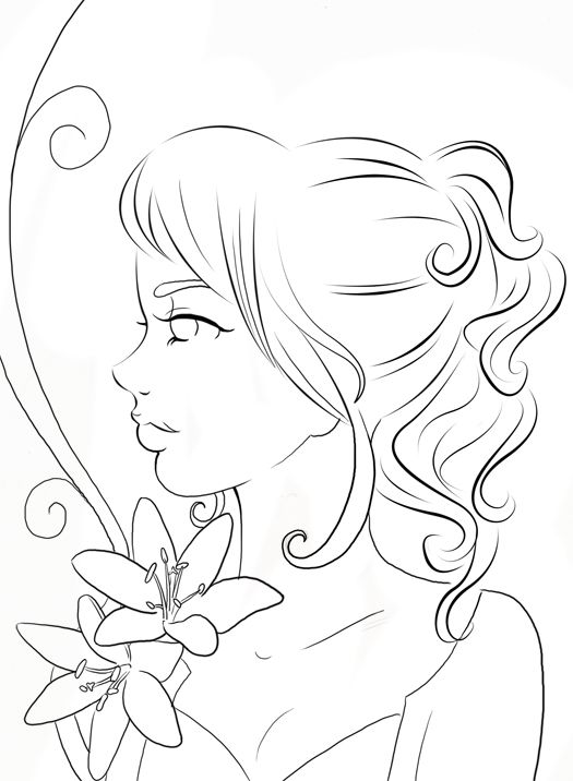 Cherry Blossom Fairy Lineart Commish By Yampuff On Deviantart