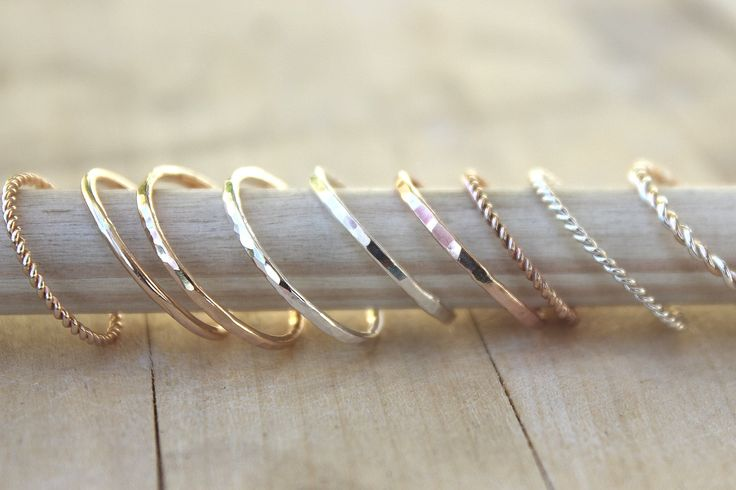 Stacking rings, gold ring, rose gold ring, SIMPLE YOU PICK own set, customize your style.  via Etsy.
