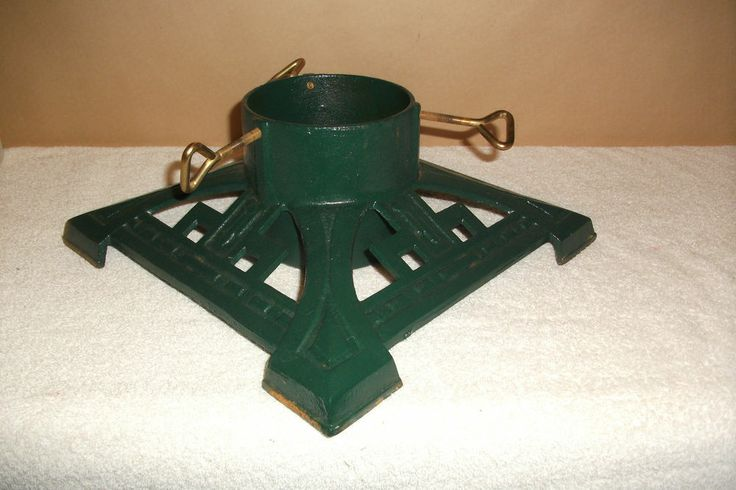 Vtg Dept 56 Christmas Tree Stand Holder Heavy Green Cast Iron Metal Victorian. Christmas tree stand for my duck tape dress form. really heavy. hope this would work.