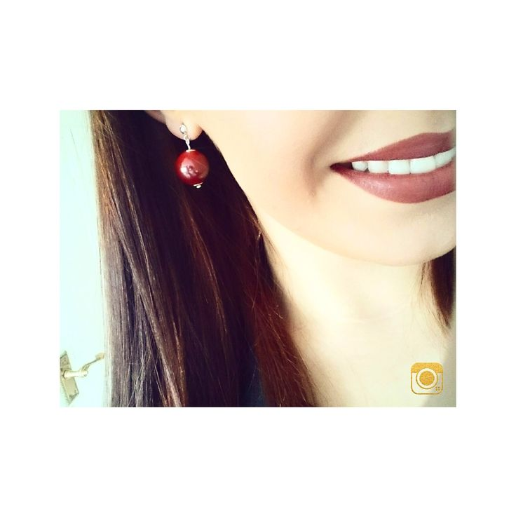 large beaded earrings available to buy now. #red #co #ord #large #beaded #earring #bead #silver