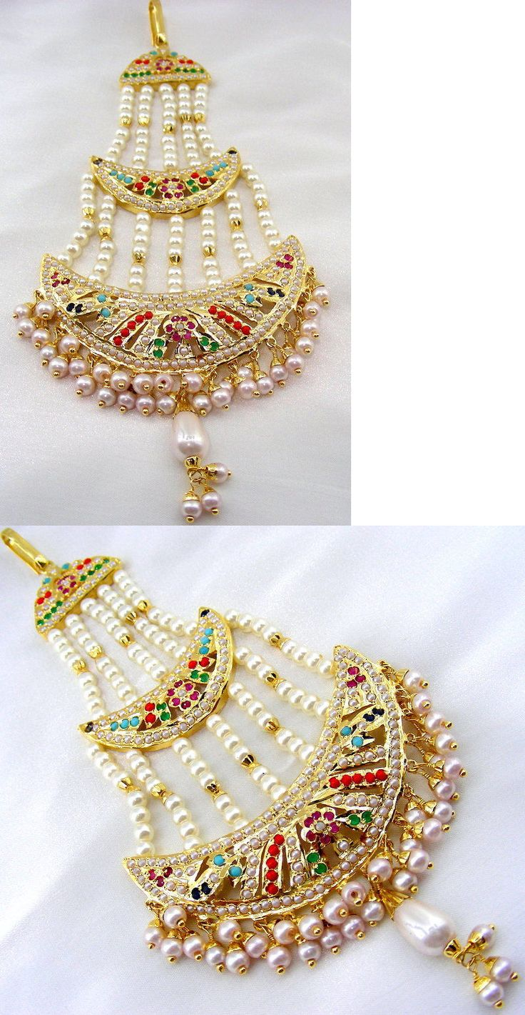 Other Asian E Indian Jewelry 11313: Wedding Wear Gold Polished Pearl Beaded Colored Stones Elegant Long Head Jhumar -> BUY IT NOW ONLY: $85 on eBay!
