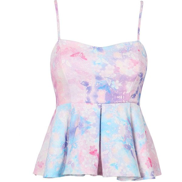 Choies Multicolor Tie Dye Print Pleated Cami Top ($14) ❤ liked on Polyvore