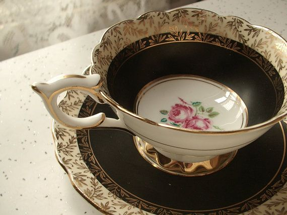 Antique black tea cup set, vintage 1950's Royal Stafford English tea set, black and gold bone china tea cup