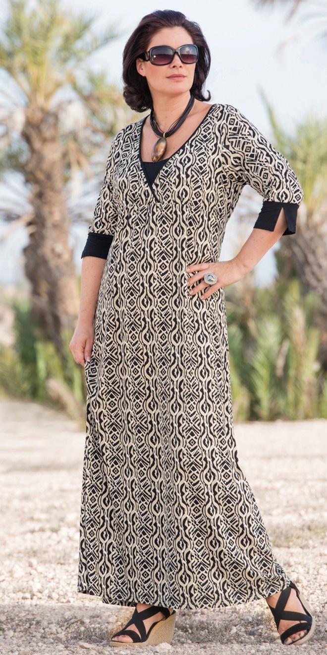 Kasbah Africa print jersey maxi dress