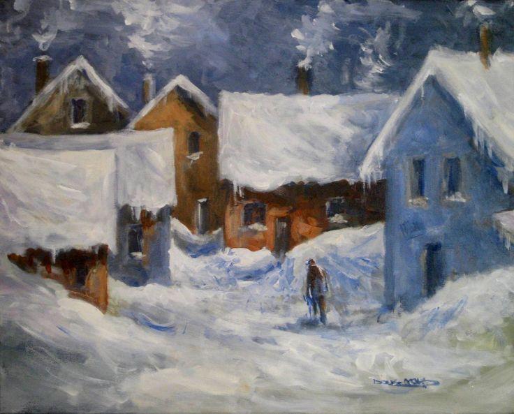 """""""Winter in the Village"""" 24"""" x 30"""""""