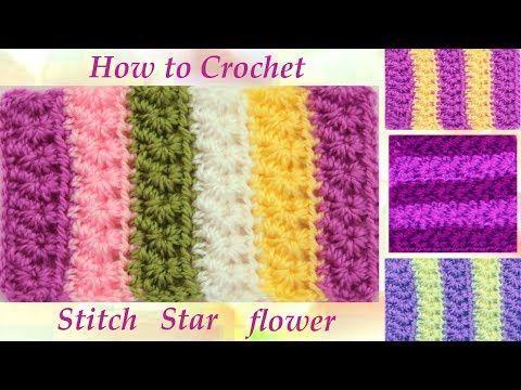 Como tejer fácil con Gancho Crochet punto de flores estrellitas - YouTube