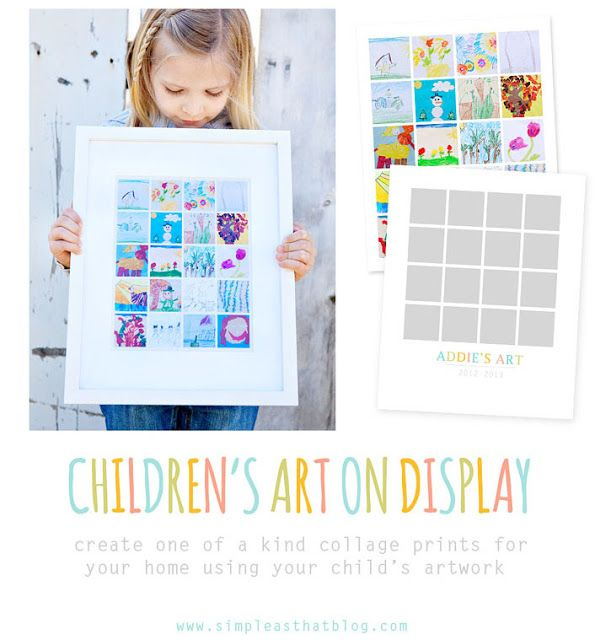 Scan or photograph your child's school artwork and display as a framed collage. #kids #art #backtoschool