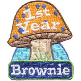 1st, First, Year, Brownie, Toadstool, Owl, Patrol, Leader, Patch, Embroidered Patch, Merit Badge, Badge, Emblem, Iron On, Iron-On, Crest, Lapel Pin, Insignia, Girl Scouts, Boy Scouts, Girl Guides