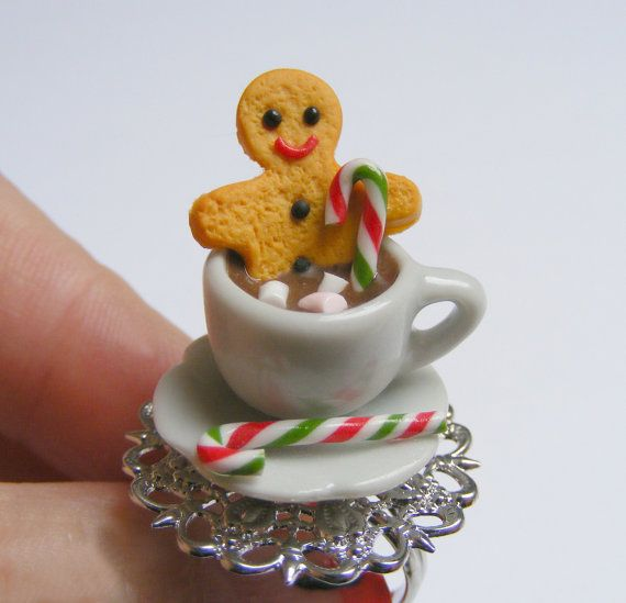 Food Jewelry Gingerbread Man Ring Man in Hot Chocolate by NeatEats