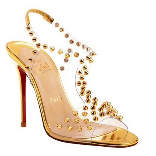 Christian Louboutin Shoes J Lissimo Spiked 100mm Sandals Gold