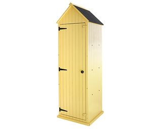 Sentry box-style sheds are a compact and practical solution for storing all your long-handled garden tools, bags of compost, fertilizers and more. Now as a brighter alternative to the usual utilitarian dark green, we are pleased to introduce these brighter, pastel-coloured versions. They'll stand tall, proud and 'on duty' all year round to keep all your gardening requisites neatly stored and ready to hand. | Beach Sheds | £249.95 | Find out more at Scottsofstow.co.uk