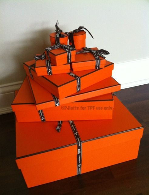 Iconic Hermes Orange  Boxes - they look sharp and neat