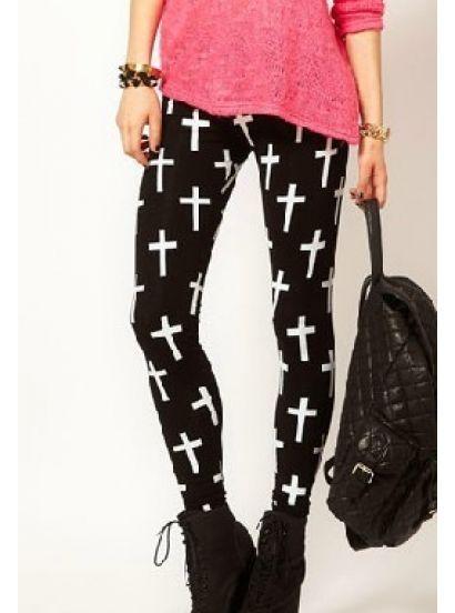 Czarne legginsy z białymi krzyżami - sheinside.com
