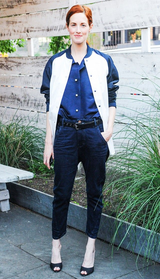 Who:Taylor Tomasi Hill Style Tip:Enliven your jeans with a baseball jacket and black heels.