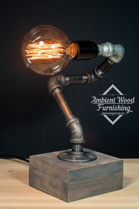 Industrial Iron Pipe Desktop Lamp With Wood Base