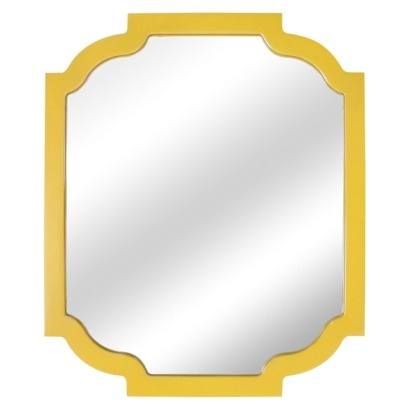 {Hang 3 of these mirrors in a horizontal row on wall above accent chairs} Threshold Wood Frame Wall Mirror - Yellow #target