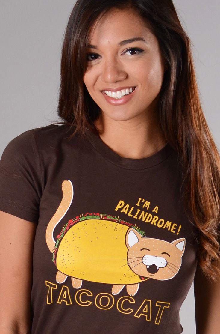 """Taco Cat.  I'm a Palindrome!"" brown t-shirt."