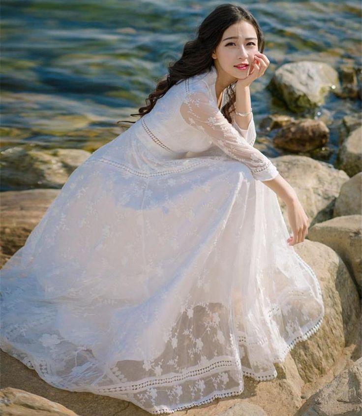 Качество Лето Sexy V образным Вырезом Low Cut Вышивка Вязание Крючком Кружева Платье Женщины Элегантные Старинные Выдалбливают Лонг Бич Платье Белый купить на AliExpress