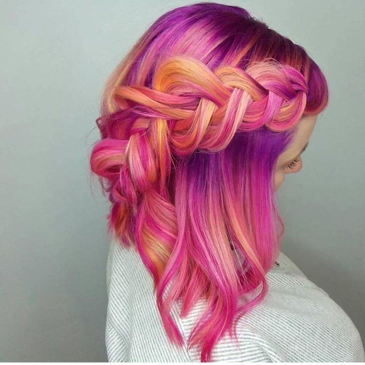 Beauty: Fantasy Unicorn Purple Violet Red Cherry Pink yellow Bright Hair Colour …